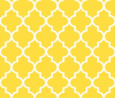 Lemon Quatrefoil fabric by willowlanetextiles on Spoonflower - custom fabric