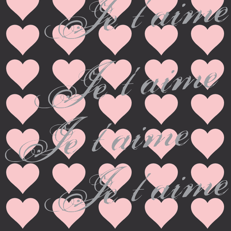 Je t'aime (I Love You) Pink Hearts fabric by lesfleursdemimi on Spoonflower - custom fabric