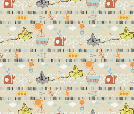La Mer de Papier fabric by gsonge on Spoonflower - custom fabric