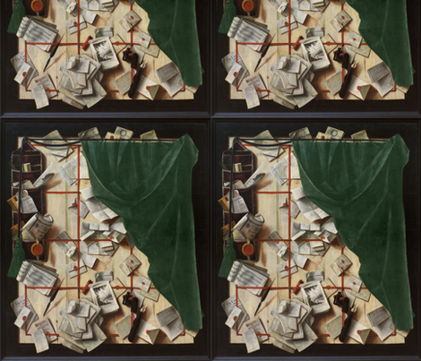 Cornelius Norbertus Gijsbrechts ~ Board Partition with Letter Rack and Music Book fabric by peacoquettedesigns on Spoonflower - custom fabric