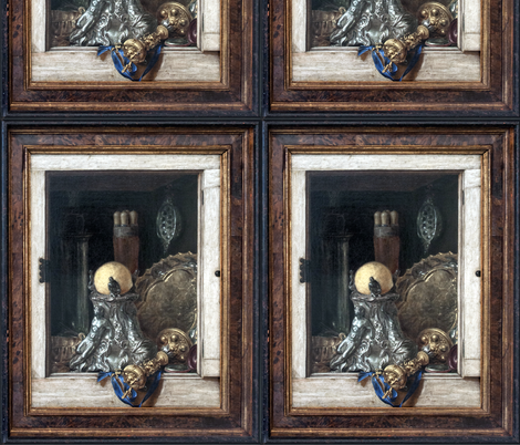 Gijsbrechts ~ Silverware In An Open Cabinet fabric by peacoquettedesigns on Spoonflower - custom fabric