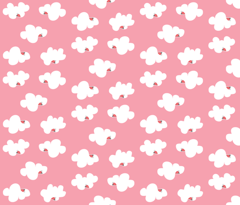 Up in the Clouds on pink fabric by halfpinthome on Spoonflower - custom fabric