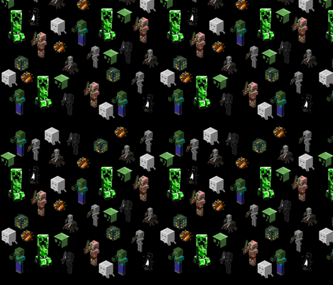 minecraft_monsters_black fabric by ceruleana_fiber_arts on Spoonflower - custom fabric