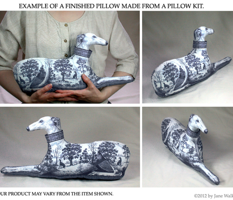 Black Toile Greyhound Stuffie kit --male