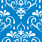 damask small -  blue and white