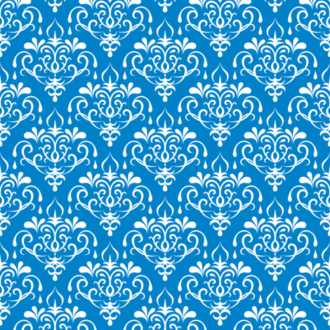 damask small -  blue and white fabric by ravynka on Spoonflower - custom fabric