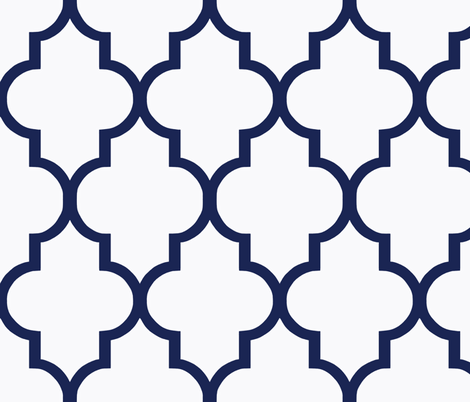 Navy Quatrefoil fabric by willowlanetextiles on Spoonflower - custom fabric