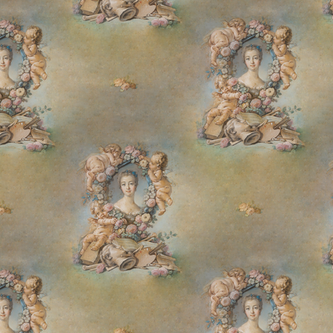 Boucher's Sketch of Madame de Pompadour - seamless fabric by bonnie_phantasm on Spoonflower - custom fabric