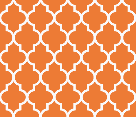 Tangerine Quatrefoil fabric by willowlanetextiles on Spoonflower - custom fabric