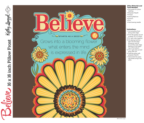 Believe_brown_Pillow_16x16-01 fabric by mindsthatcreate on Spoonflower - custom fabric