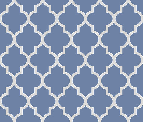 French Blue and Sterling Ogee fabric by willowlanetextiles on Spoonflower - custom fabric