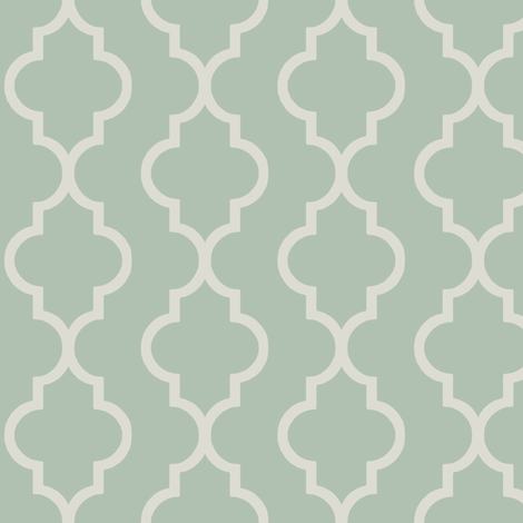 Spa and Cream Quatrefoil Stripe