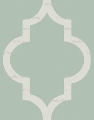 Spa and Cream Quatrefoil Stripe