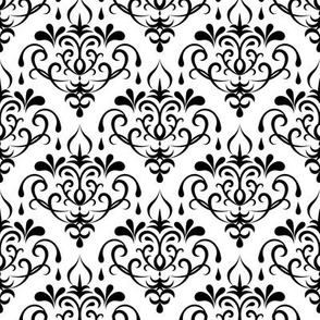 damask - white and black