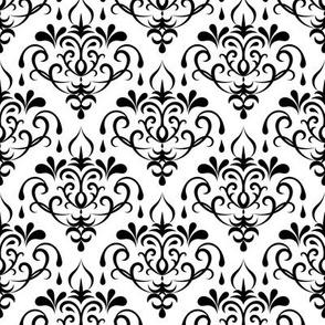 damask - white and black