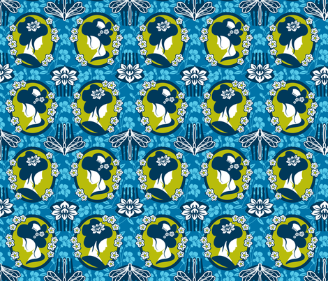 Japanese cameo blue  fabric by cjldesigns on Spoonflower - custom fabric