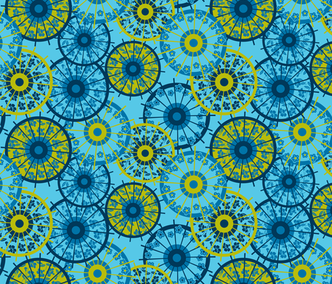 Japanese parasol blue fabric by cjldesigns on Spoonflower - custom fabric