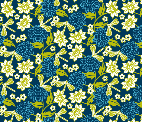 Japanese large floral indigo fabric by cjldesigns on Spoonflower - custom fabric