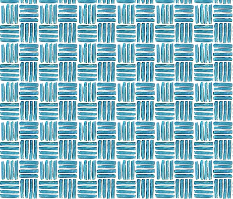 Blockprint 1 - turquoise - square fabric by koalalady on Spoonflower - custom fabric