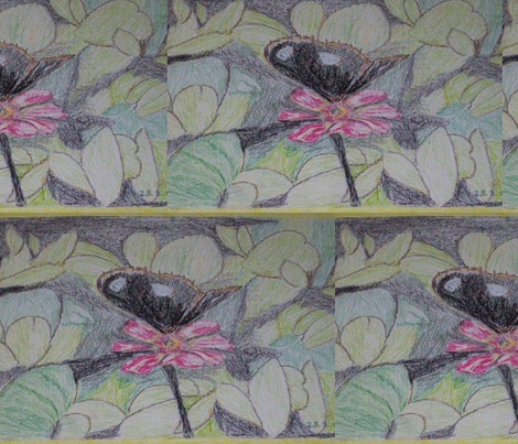 black buffer fly amid foliage fabric by rachana on Spoonflower - custom fabric