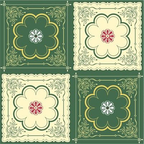 Victorian Floral Pattern Green and Ivory
