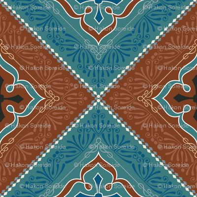 Victorian Floral Pattern Brown and Turquoise Diagonal