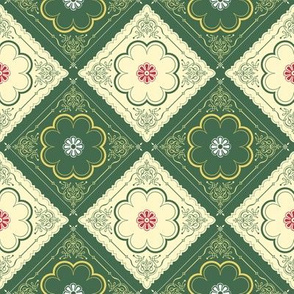 Victorian Floral Pattern Green and Ivory Diagonal
