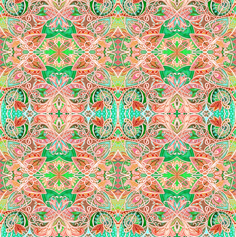 Peachy Keen Flower Blossom Spring (a delicately lined abstract) fabric by edsel2084 on Spoonflower - custom fabric