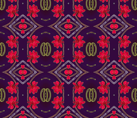 Red  Flowers  Abstract fabric by koalalady on Spoonflower - custom fabric