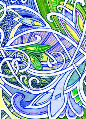 Interlocking Nouveau Deco Paisley Kaleidoscope Blues