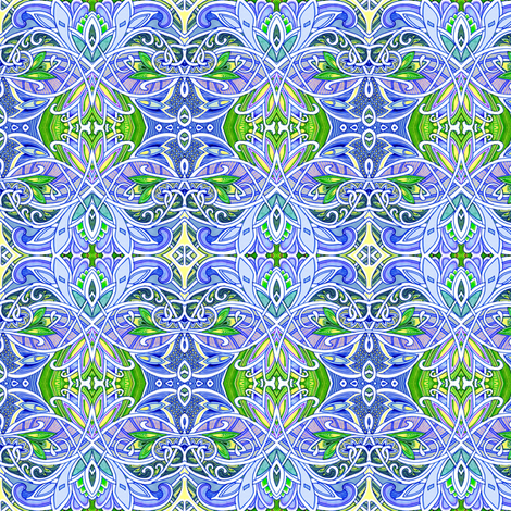 Interlocking Nouveau Deco Paisley Kaleidoscope Blues