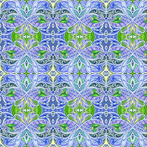 Interlocking Nouveau Deco Paisley Kaleidoscope Blues fabric by edsel2084 on Spoonflower - custom fabric