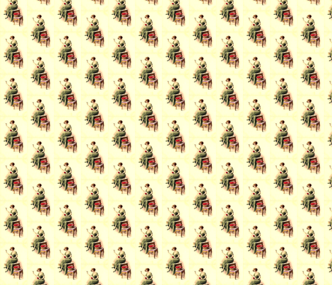 VintageWomanSewingHeartsB fabric by nype on Spoonflower - custom fabric