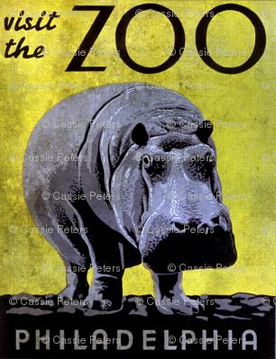 Visit the Zoo Philadelphia Hippo Grunge