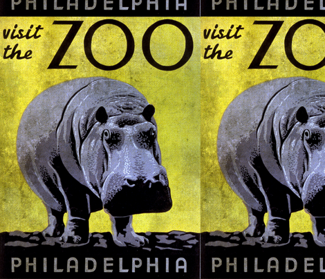 Visit the Zoo Philadelphia Hippo Grunge fabric by angelandspot on Spoonflower - custom fabric