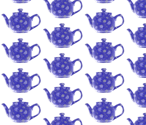 Teapot  Blue fabric by koalalady on Spoonflower - custom fabric