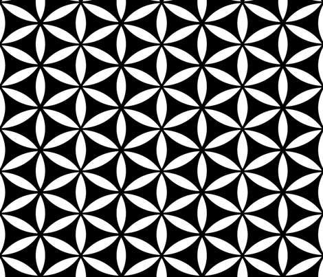 Flower of Life Black fabric by pixeldust on Spoonflower - custom fabric
