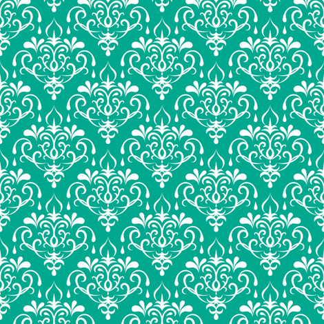 damask small - emerald and white fabric by ravynka on Spoonflower - custom fabric