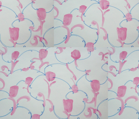 pink buds and blue tendrils fabric by rachana on Spoonflower - custom fabric