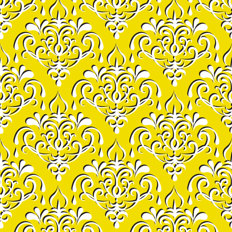 damask medium - yellow w/ shadow fabric by ravynka on Spoonflower - custom fabric