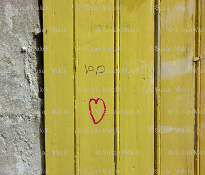 Heart on Mustard Door, large