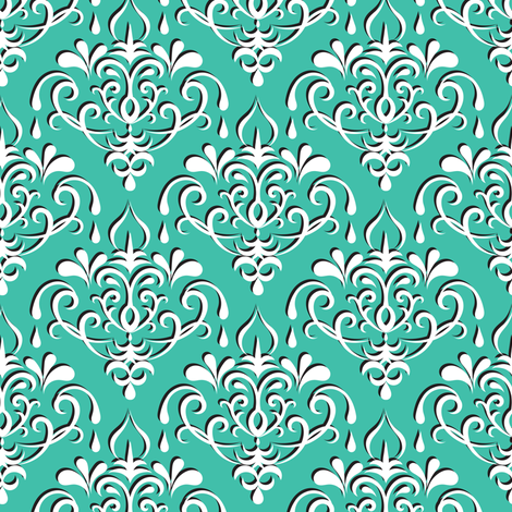 damask medium - turquoise w/ shadow fabric by ravynka on Spoonflower - custom fabric