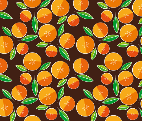 oranges on brown fabric by creative_cat on Spoonflower - custom fabric