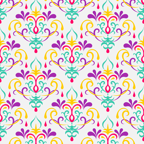 damask medium - multicolor fabric by ravynka on Spoonflower - custom fabric