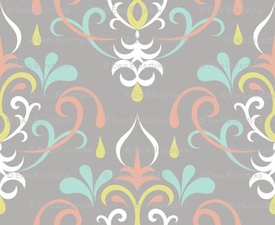 damask medium - pastels on gray