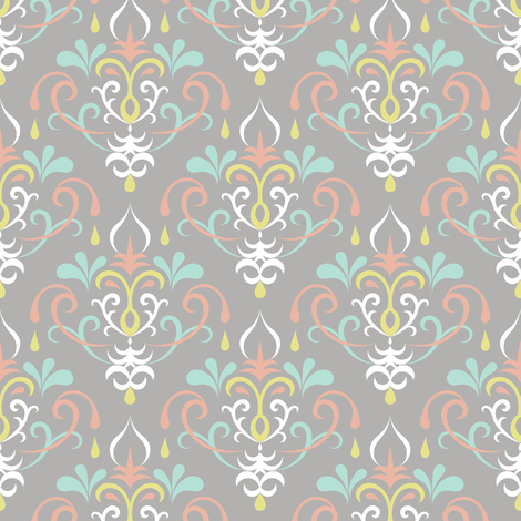 damask medium - pastels on gray fabric by ravynka on Spoonflower - custom fabric