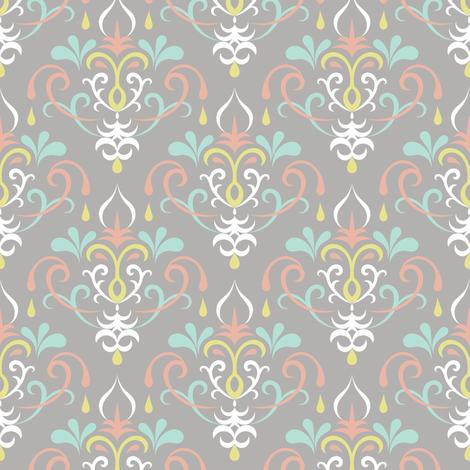 damask medium - pastels on gray fabric by ravynka on Spoonflower - custom fabric