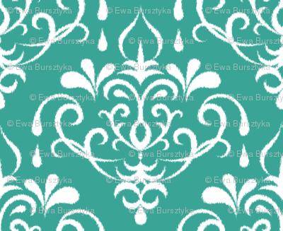 ikat damask large - emerald and white