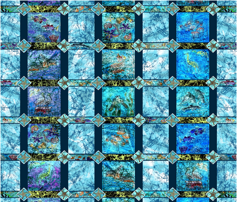 Ocean_Life_Batik_Quilt by Sylvie fabric by art_on_fabric on Spoonflower - custom fabric
