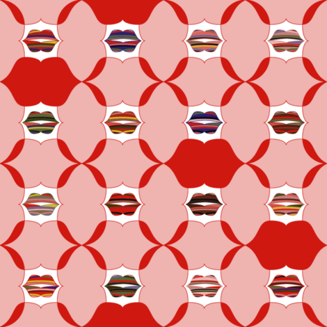 Kiss Me Lips fabric by mag-o on Spoonflower - custom fabric